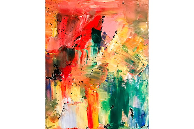Abstract painting in ROY G BIV
