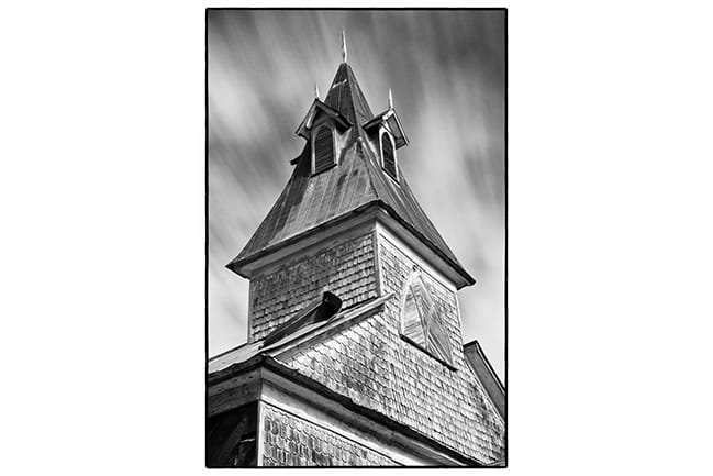 Black and white photograph of Old Bethel AME Church steeple