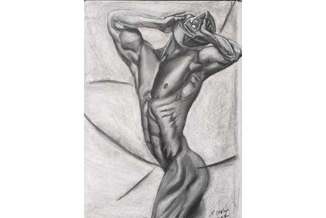 grayscale drawing of abstracted male figure