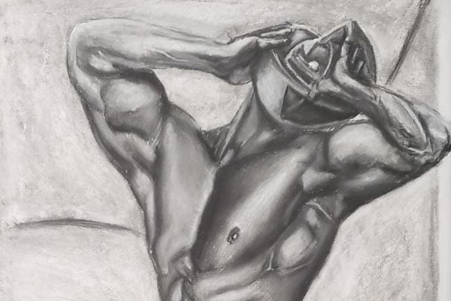 Pencil drawing of male torso, arms holding abstract head