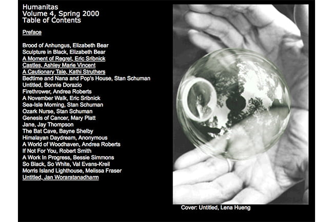 Cover image of year 2000 Humanitas literary journal