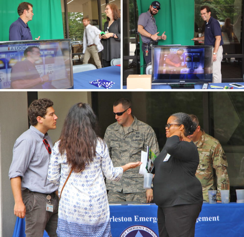 Collage of people talking at hurricane awareness day