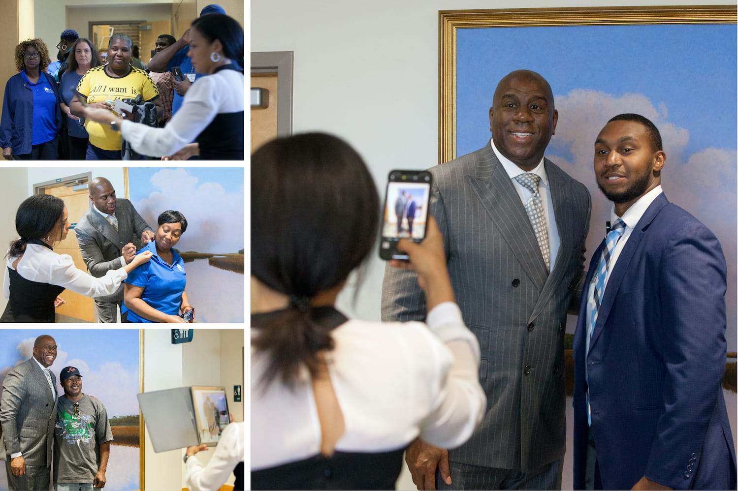 Magic Johnson poses for photos and signs autographs for SodexoMAGIC employees at MUSC