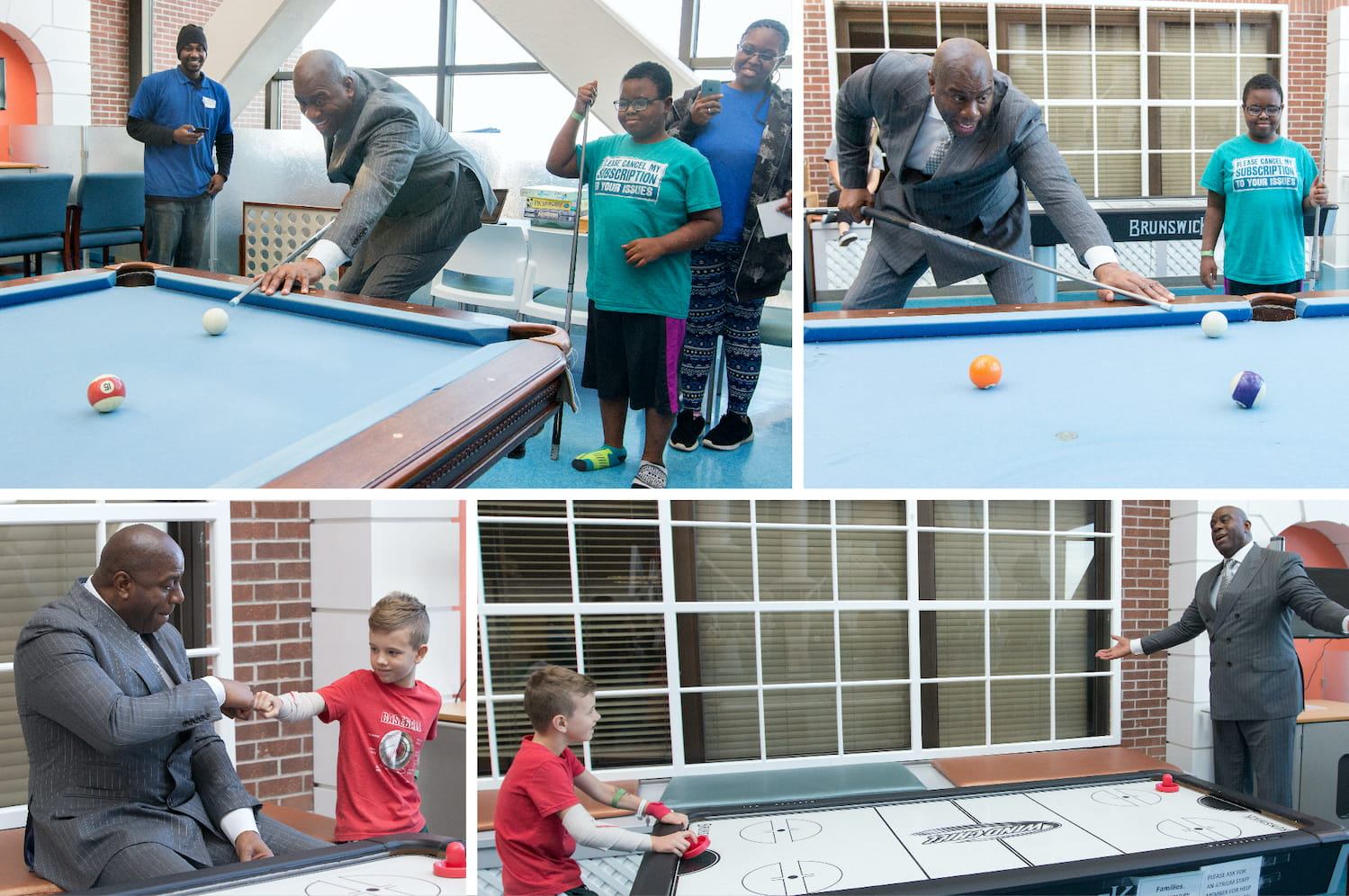 Magic Johnson played air hockey, shot pool and hung out with dozens of kids in the MUSC Children's Hospital