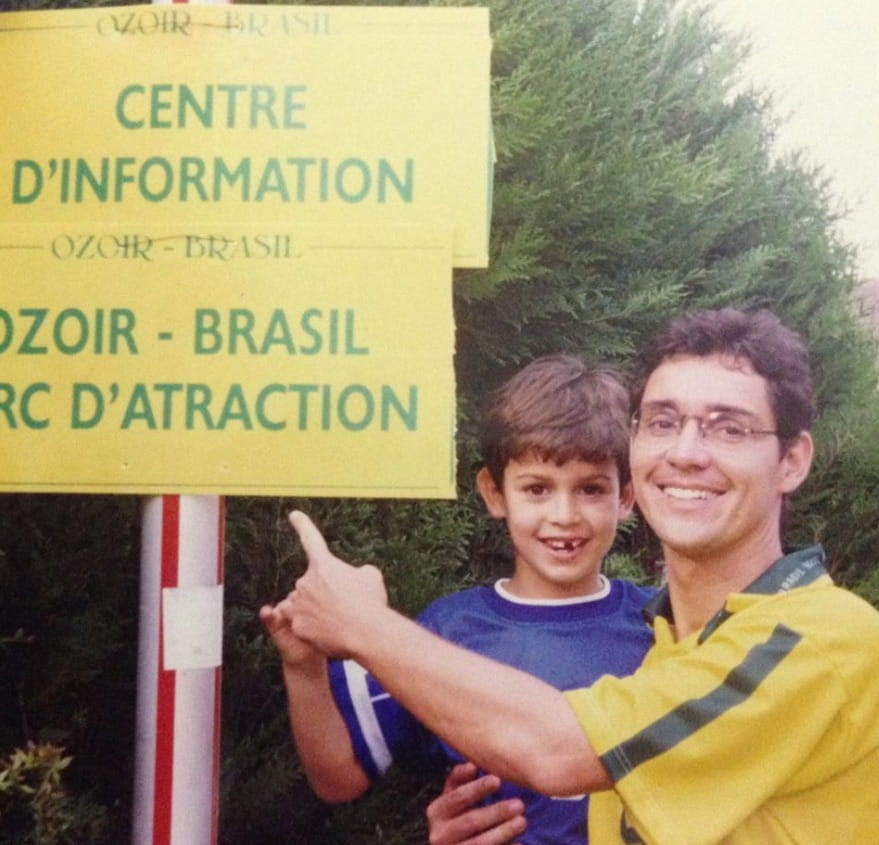 Victor Araujo with his father Jose at the World Cup in 1998.