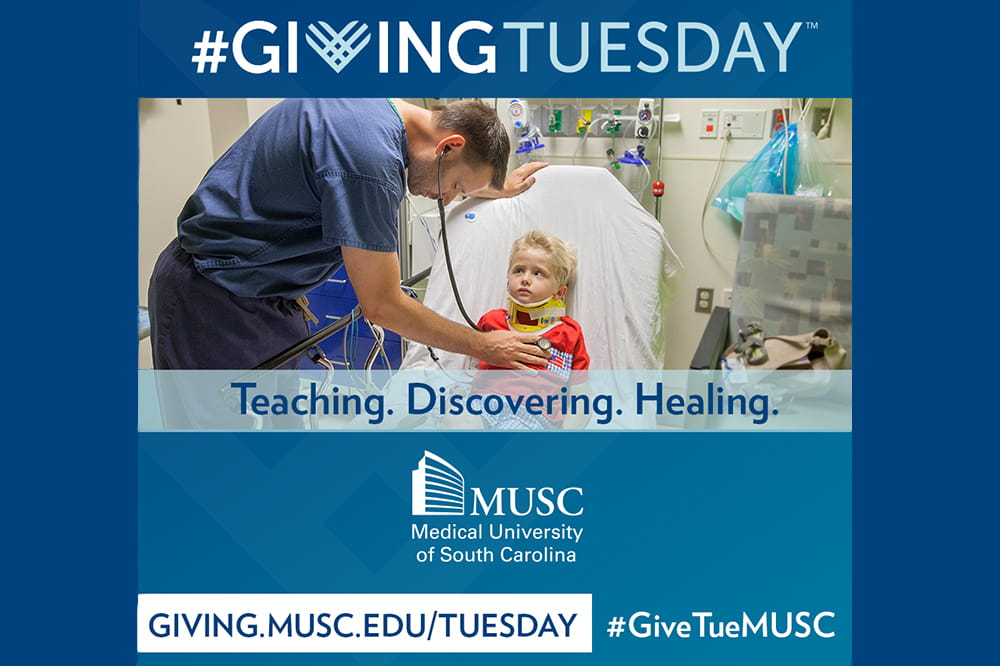 graphic that says Giving Tuesday with photo of a doctor leaning over a little boy in bed to listen to his heart